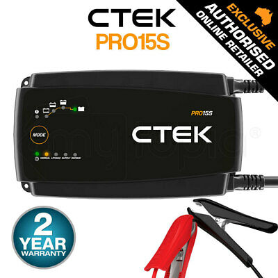 CTEK MXS 15 Smart Battery Charger 12V 15A Deep Cycle Car Boat 4WD Caravan ATV