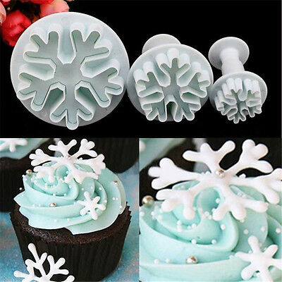 DIY Snowflake Fondant Cake Decorating Sugarcraft Cutter Plunger Mold Mould 3Pcs