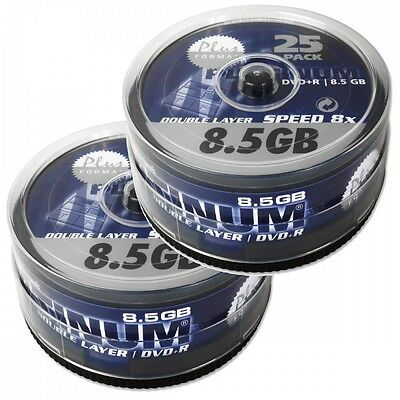 Platinum 8,5 GB DVD+R Double Layer 50 DVD-Rohlinge in 2 x 25er Spindel 8x Speed