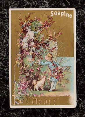Girl Finds Statue October from Soapine Months Series Victorian Soap Trade Card