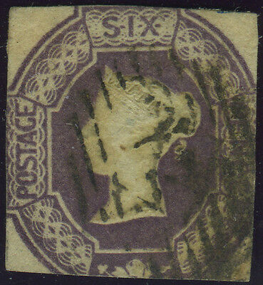 SG 59 6d dull lilac, sound used cut square example, Cat £1000, scarce and reason
