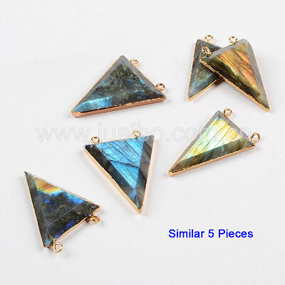 5Pcs Natural Labradorite Faceted Triangle Connector With 24K Gold Plated GG0479