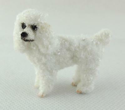 Dolls House Falcon Miniature 1:12 Pet Dog Standing White Poodle with Hair
