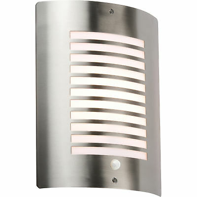 Knightsbridge Outdoor Wall Light Fitting Fixture with PIR Sensor Stainless Steel