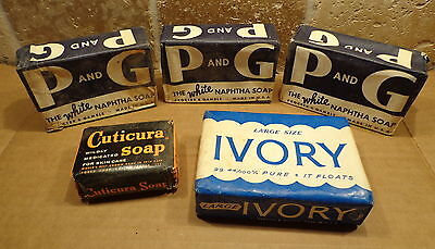 Vintage 1940's Lot of 5 SOAP Bars -IVORY-P and G-CUTICURA with Original Wrappers
