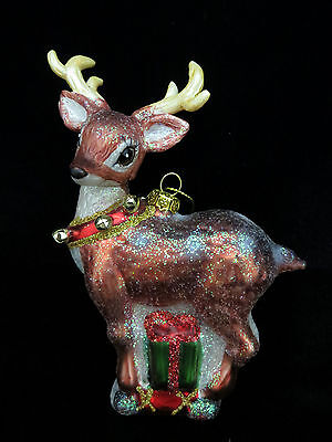 Glass Reindeer Christmas Tree Ornament New Bells on Collar Holiday North Pole
