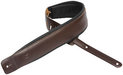 """Levy's DM1PD-DBR 3"""" Classic Padded Leather Guitar/Bass Strap - Dark Brown"""