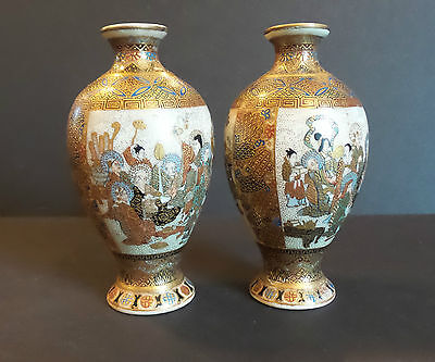 "Pair Antique Japanese Satsuma 4.5"" Miniature Vases, Figural Decoration"