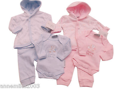 BNWT Baby Prem Premature Preemie Baby Boys Girls hooded Clothes 3 Piece outfit