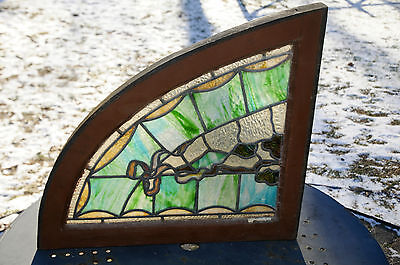 Antique Vintage Stained Glass Window Architectural Salvage Hvy Wood Arched Frame
