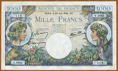 France, 1000 francs, 1944, Pick 96 (96b), WWII, aUNC