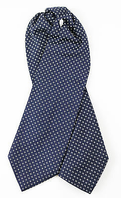 New SANTOSTEFANO Black Gold Formal Ascot Tie Adjustable One Size NWT $195