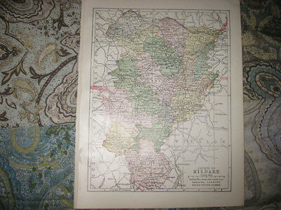 Antique 1900 County Kildare Ireland Map Naas Caragh Kilcullen Moone Timolin Nr