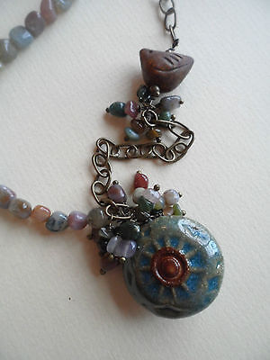 Ceramic Rustic Sun & Bird Pendant Fancy Agate Charm Necklace OOAK Stunning