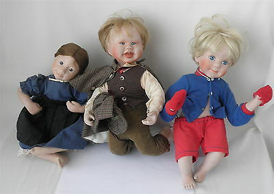 3 Dolls w/Soft Bodies & Porcelain Heads & Extremities~~Various Makers