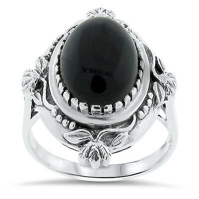 GENUINE BLACK AGATE ANTIQUE VICTORIAN DESIGN 925 STERLING SILVER RING Sz 5,  #50