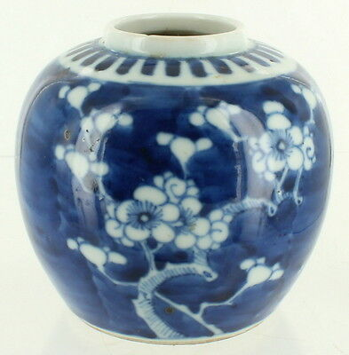 Antique Chinese Export Hand Painted Ginger Jar Blue White Cherry Blossoms