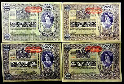 4 Vintage 1918 Austria 10000 Kronen With Red Overprint VF Or Better