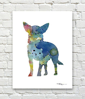 Blue Chihuahua Abstract Watercolor Painting Art Print by Artist DJ Rogers