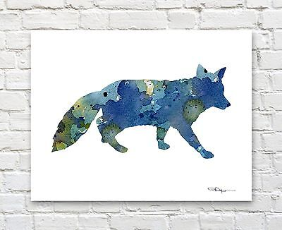 Blue Fox Abstract Watercolor Painting Art Print by Artist DJ Rogers