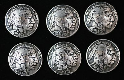 """(6) Buffalo Nickel Concho / Buttons/ (Fully Dated) """"indian Head""""  (Real)"""