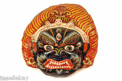 Antique Vtg ASIAN Paper Mache FIRE GOD DEATH MASK w SKULLS Indonesia Nepal Tibet