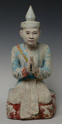 Late 19th Century, Burmese Wooden Seated Figure