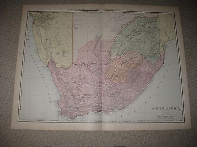 Huge Folio Antique 1898 South Africa Cape Of Good Hope Map Colonial Orange Tribe