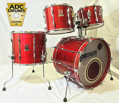 Vintage 1980s Premier Resonator Drum Kit 12/13/16/22  Flame Red Lacquer