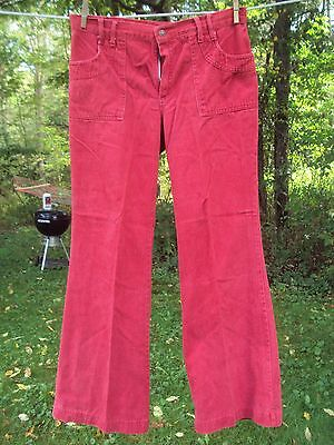 1960-70's RED DENIM FLAIRS or BELL BOTTOMS PANTS SLACKS