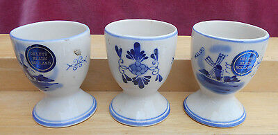 Delft Holland Egg Cups 3 Windmills Hand Painted Vintage Label Blue White