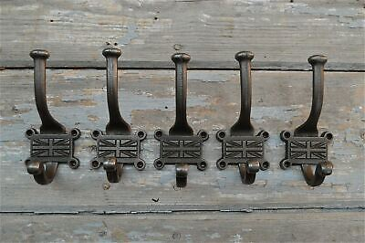 Set Of 5 Vintage Style Union Jack Coathooks Union Flag Coat Hook Hooks Hanger