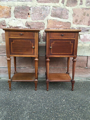 28311 Antique pair of French mahagony Bedside Cabinets c.1900 Louis XVI