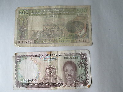 (1) 5 Shilling Tanzania Bank Note & (1) 500 Francs Africa Central States Note
