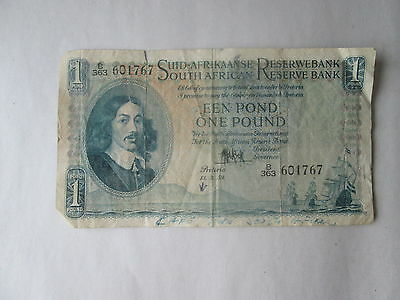 (1) South African Reserve Bank, One Pound 1959 Bank Note, Circulated Condition