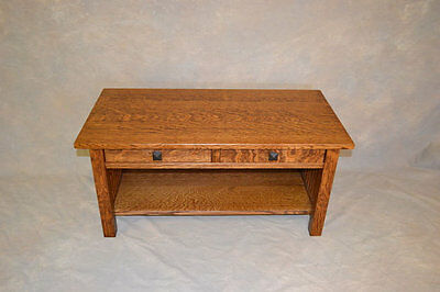 Mission Quartersawn Oak Wood Spindle Coffee Table with Drawers Free Shipping