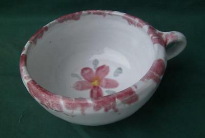 Large Bybee Pottery Kentucky White Pink Floral Serving Cereal Soup Bowl Kitchen