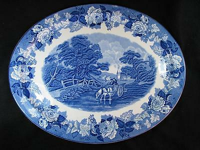 Blue Enoch Wood's English Scenery oval serving platter by Wood & Sons England