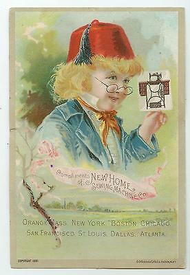 1891 New Home Sewing Machines trade card Danbury Connecticut Begg & Dean