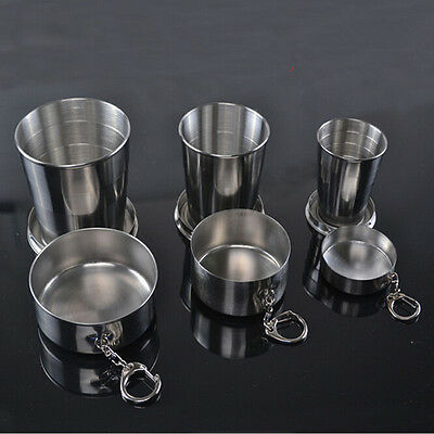Stainless Steel Telescopic Collapsible Shot Glass Emergency Travel Pocket Cup