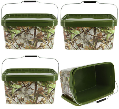 3 X Square 10L Camo Bait Buckets For Boilies Pellets With Hinged Table Lid Carp