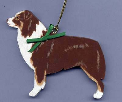 AUSTRALIAN SHEPHERD Wooden Dog ORNAMENT - Red tri - Hand Crafted - w/name!