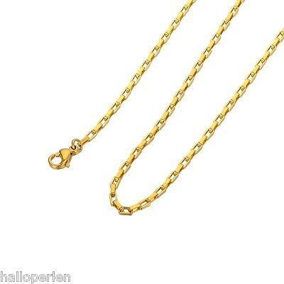 1PC Women Gold Plated Stainless Steel Long Box Chain Necklace DIY