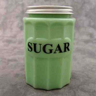 JADEITE GREEN GLASS SUGAR CANISTER w/ Metal Lid ~COLUMN DESIGN~ BLACK LETTERS ~