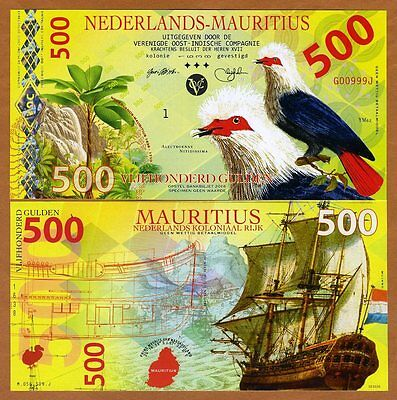 Netherlands Mauritius, 500 Gulden, 2016, Private POLYMER, UNC > Blue Pigeon