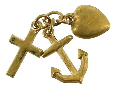 "Antique Victorian Faith Hope & Charity Spelter Gold Dangle Charm 3/4"" Nice!"
