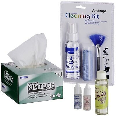 AmScope Microscope Operation and Maintenance Kit  - Immersion Oil & Cleaning Pac