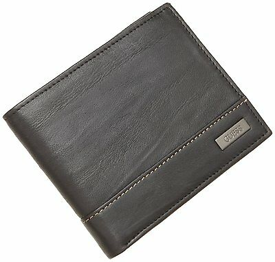 New Guess Men's Leather Credit Card Passcase Multi Card Wallet Black 31Gu20X001