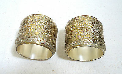 VTG Set of 2 Napkin Rings Embossed with Grapes & Vines Silver Plated Brass