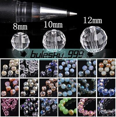30pcs 96 Facets Round Faceted Crystal Glass Loose Spacer Beads 8mm/10mm/12mm